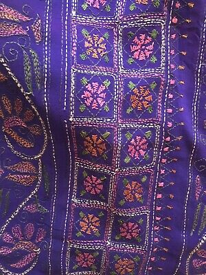 "Vintage Hand Embroidered Dark Purple Kantha SAREE SARI Pure Crepe Silk 200 "" ()"