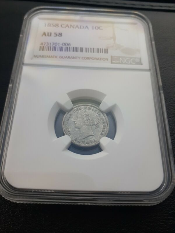 1858 Canada 10 Cent Dime NGC AU 58