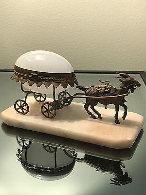 French Antique Milk Glass Egg Casket Carriage /gold plated frame w/goat pulling