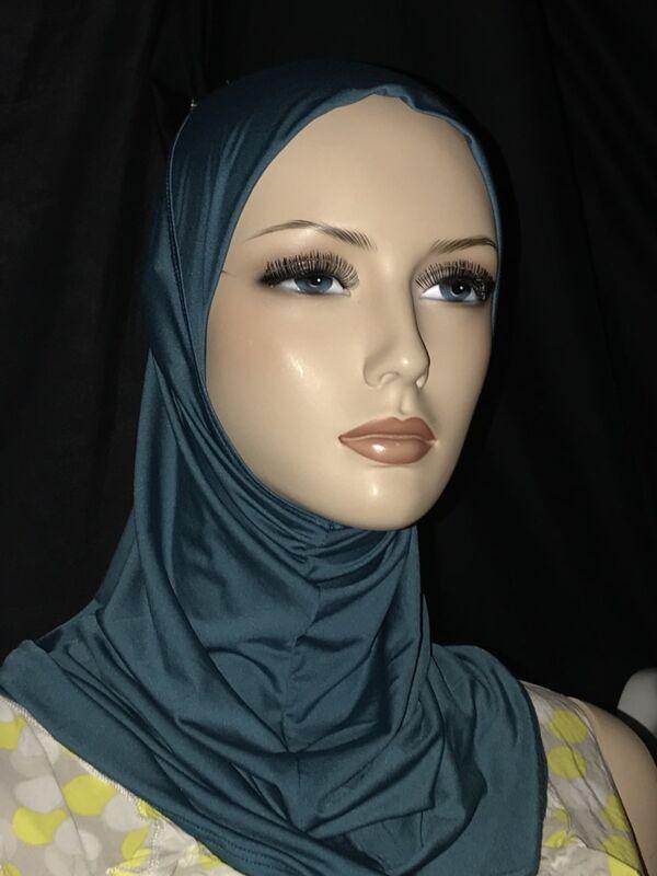 Dark Teal Blue lycra hijab 1 PC abaya Islam scarf chemo head cover scarf AS IS