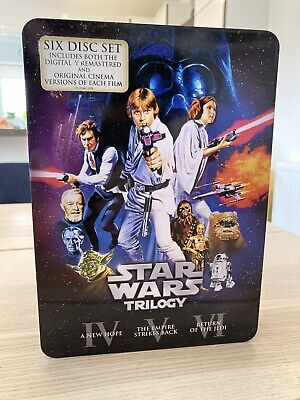 Star Wars Trilogy Tin -Special Ed+Original Cuts DVDs-6 Discs- UsedGood Condition