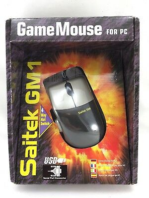 Vintage Saitek PC Game Gaming Mouse GM1 - 4 Way Hat Switch USB New
