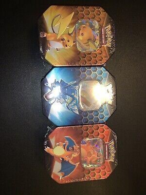 Pokemon Hidden Fates Tin Set of 3 Charizard GX Gyarados Raichu Factory Sealed