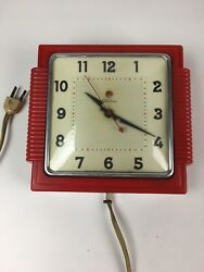 Vintage Telechron Clock Model 2H155 red wall clock - running