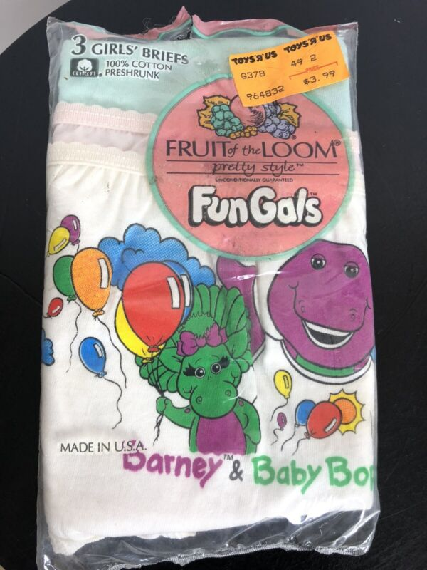 Vintage 1991 3 Fruit Of The Loom Fungals Girs Briefs Size 6 BARNEY USA Underwear