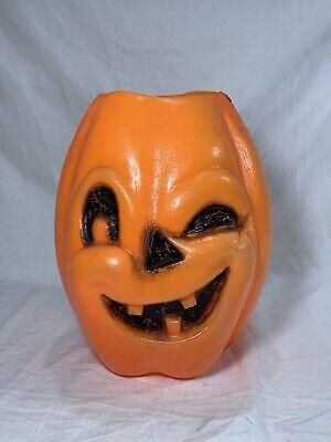 Halloween Blow Mold Winking Jack O Lantern Vintage VTG Plastic Candy Bucket Pail