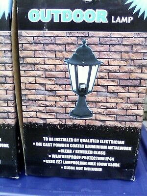 2 LARGE OUTDOOR NEW BLACK METAL/GLASS QUALITY LANTERNS NOT FOR WALL HANGING