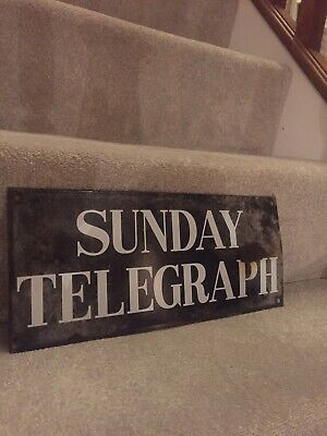 Sunday Telegraph Enamel Sign Original Old Rare Advertising Antique Vintage News