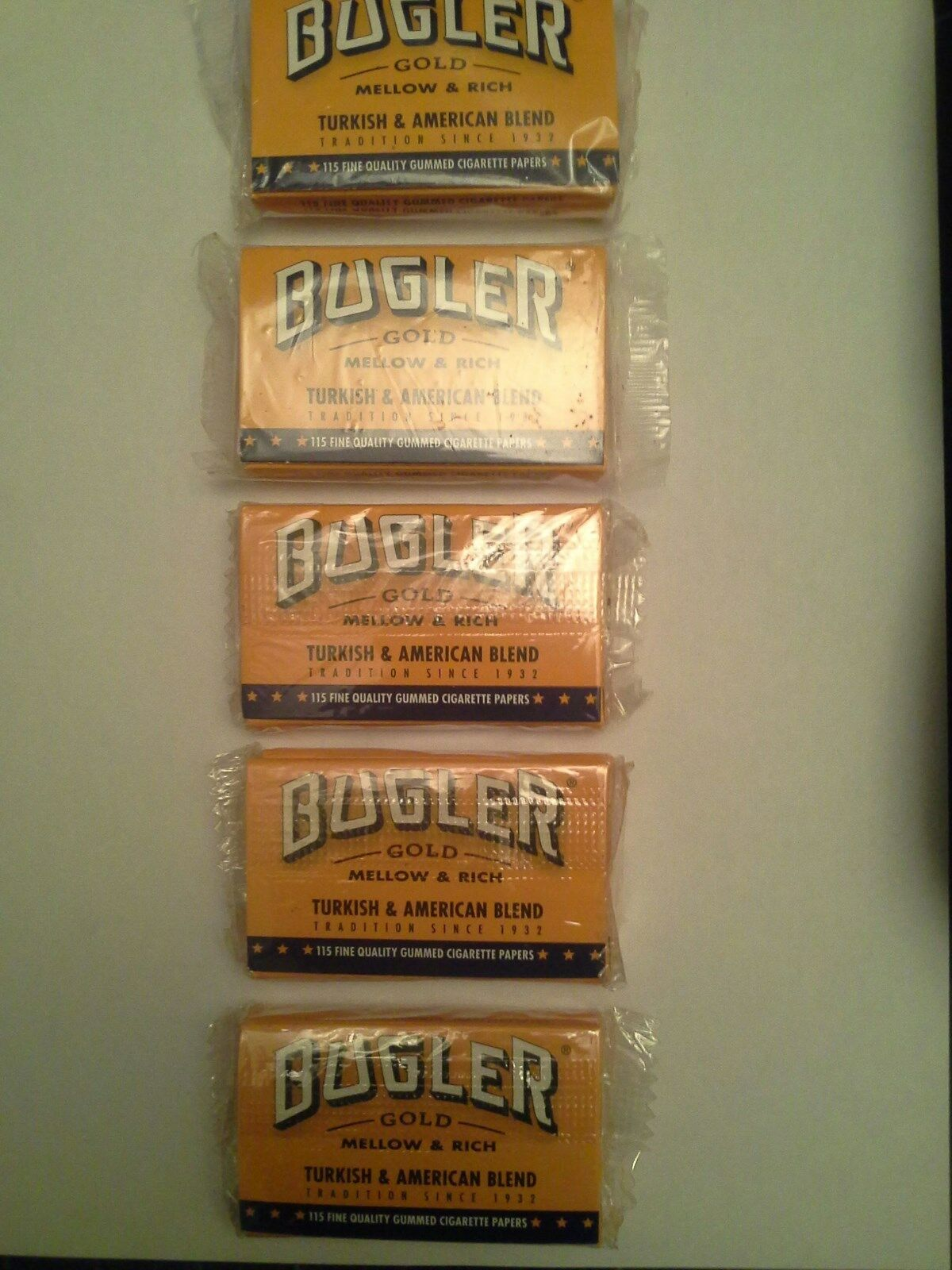 Bugler Brand Tobacco Rolling Papers, 5 double pack of 115 papers each