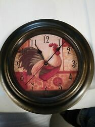 May/time. Rooster Wall Clock  Battery Operated . Nice!  Preowned