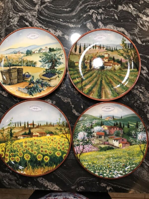 "Absolutely Beautiful Tuscan Set Of 4 Salad  Plates 8"" New Made In Portugal"