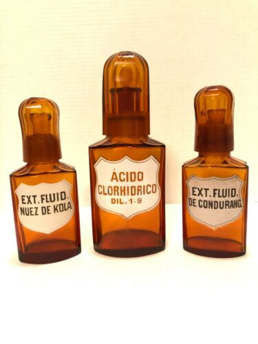 Old Apothecary Bottles Set Of 3