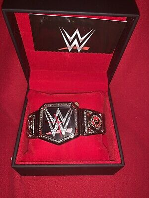 WWE Championship Belt Men/'s Stainless Steel Black PVD Plated Logo Ring Size 10