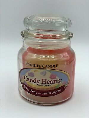 NEW Yankee Candle Candy Hearts Black Cherry Vanilla Cupcake Swirl Candle RARE