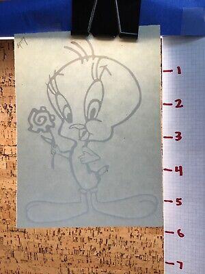 Tweety Bird With Flower -  White     -  Vinyl Transfer Decal - Y7-1.47 Tweety Bird Vinyl