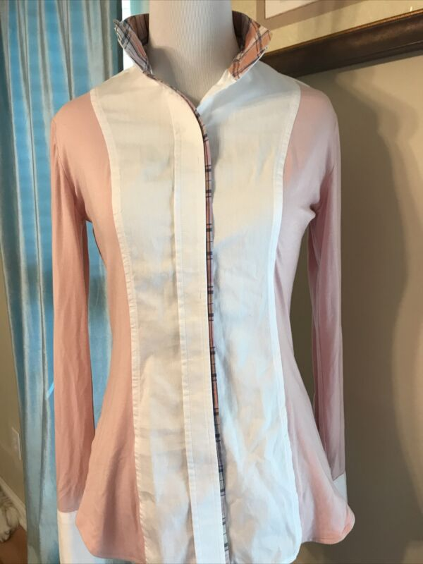 Le Fash Long Sleeve Shirt  Pink & White Equestrian Golf Sz SMALL