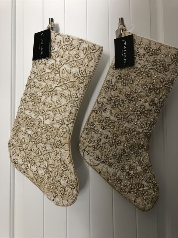 """Two TAHARI Christmas GOLD Holiday Stockings 22"""" White & Gold Beads Sparkly New"""