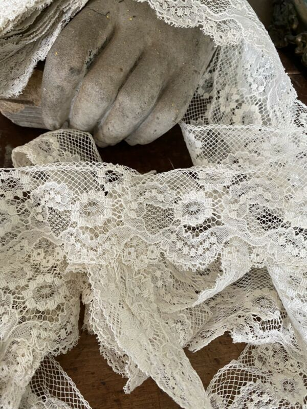 Gorgeous Antique French Trim Ornate Cotton Brussels Floral Net Lace 7 YDS