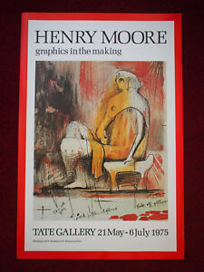 ORIGINAL TATE GALLERY LONDON HENRY MOORE 1975 EXHIBITION POSTER RARE 30X20