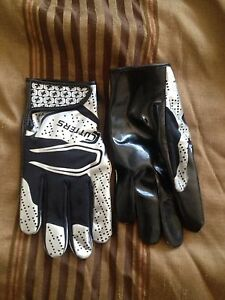 Black and silver football gloves