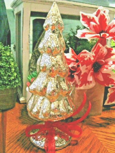 """New Shimmering Gold Iridescent Mercury Glass Christmas Tree with RED Bow--10"""""""
