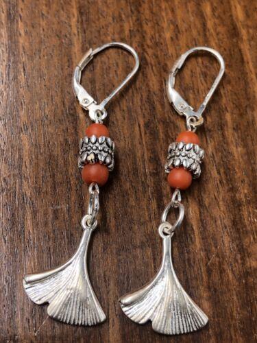 Damen 925 Silber Koralle Ohrring, Antik Schmuck