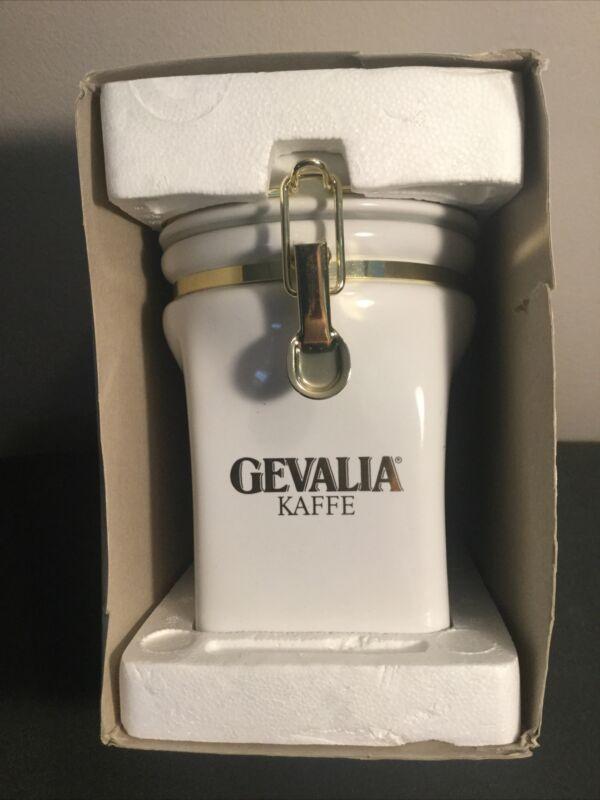 Gevalia Kaffe Coffee Canister Ceramic White & Gold New Open Box