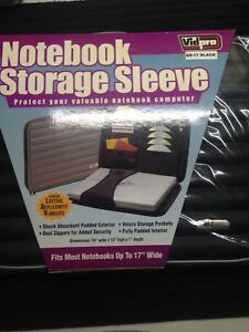 """Notebook Storage Sleeve with pockets and zippers upto 17"""" laptop"""