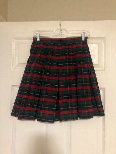 "Red Navy Plaid Uniform Pleated Skirt Royal Park Uniforms Girls sz 14 ( 27"" W)"