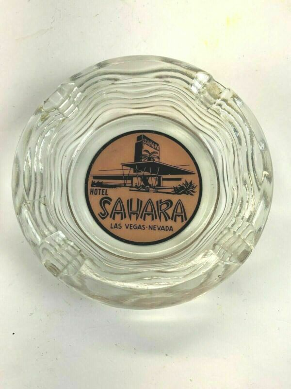 Vintage Sahara Las Vegas Hotel Souvenir Glass Ashtray Pink Rose Wavy Design