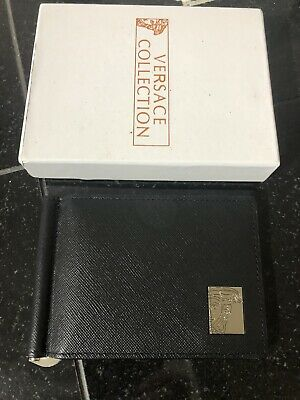 Versace Black Saffiano Leather Wallet With Money Clip