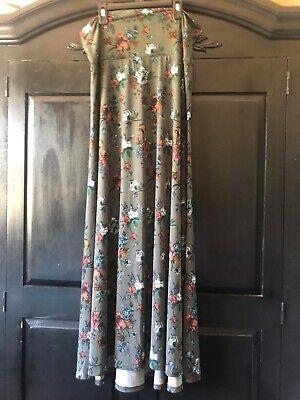 Womens Lularoe Long Skirt Slinky Floral Olive Green Size Large L