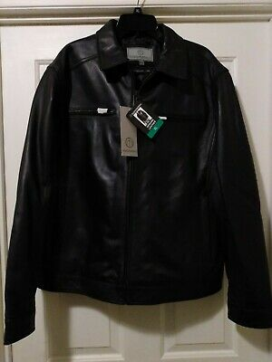 Boston Harbour XL Mens Casual Black Leather Jacket, Genuine New Zealand Lamb NWT