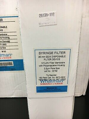 Whatman Syringe Filters Nylon 25mm 0.2um Pore 150 Ct Box Item 6870-2502