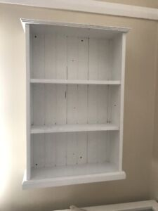 Handmade white wooden bookcase/shelving