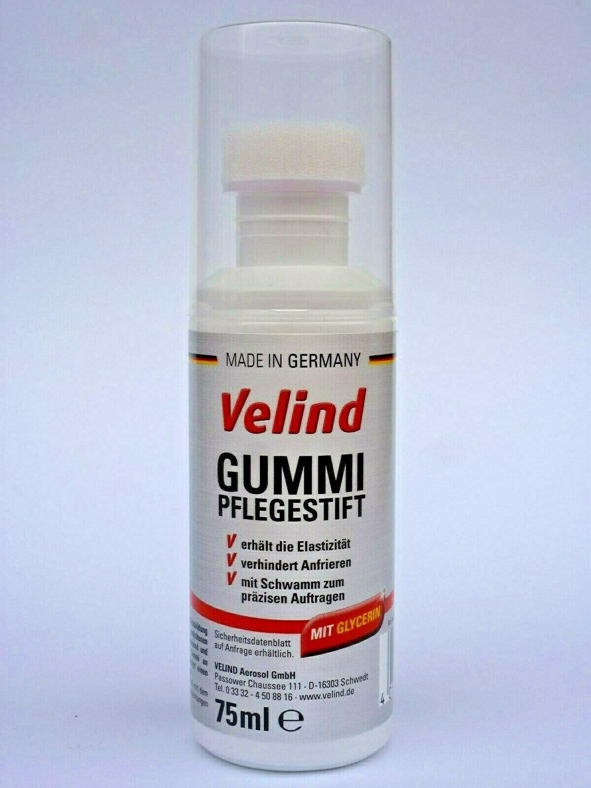 (6,47€/100ml) 1x 75ml Velind Gummipflege Stift mit Glycerin Auto Türgummi Schutz