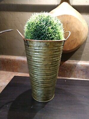 Flower BUCKET VASE Galvanized Ribbed 8