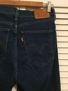 High Waisted Skinny Blue Levis Jeans Bleu Taille Haute Mile High