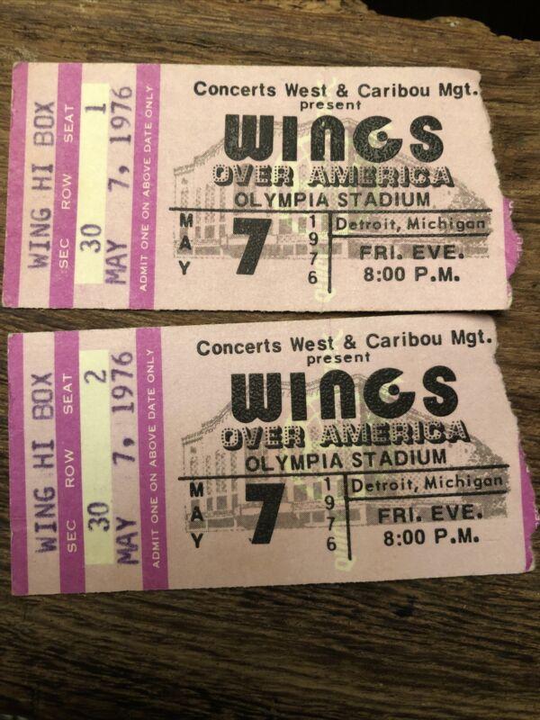 Wings Over America Ticket Stub 1976 Paul McCartney Detroit