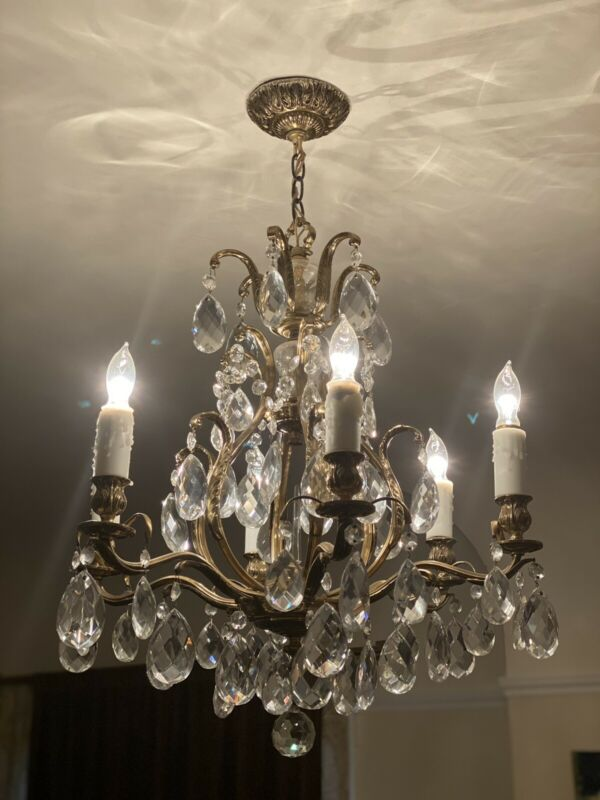 Vintage Brass  Chandelier 6 Light Crystal