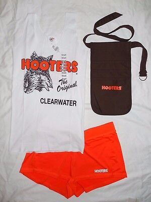 NEW HOOTERS UNIFORM HALLOWEEN COSTUME TANK/SHORT/POUCH CLEARWATER FLORIDA MEDIUM