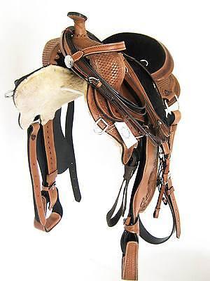 """THSL"" WESTERN GAITED HORSE SADDLE PKG TAN 17"" TOOLED/CARVED BLACK SEAT (1050)"