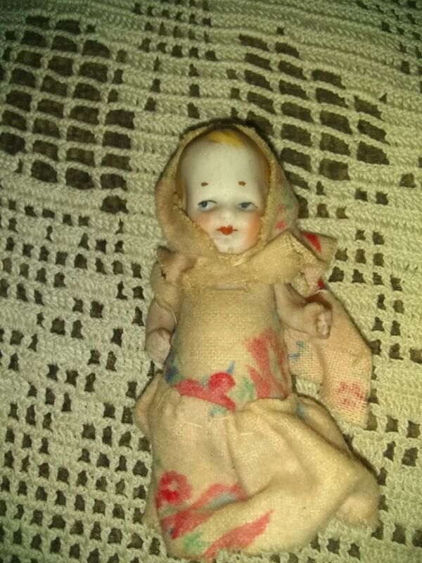 Vintage Little 3 Inch  porcelain Doll Made In Germany Jointed.. arms
