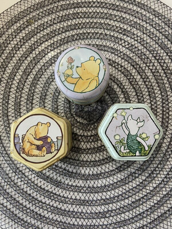"""3 -- Retro """"Winnie the Pooh"""" Candle Tins,, NEW with candle wax never used,"""
