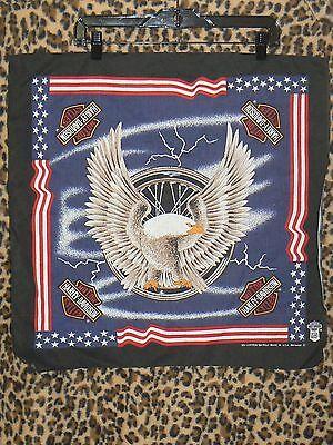 Harley-Davidson official bandana Eagle Lightning US flag black made USA doo rag