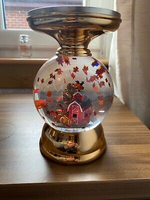 Bath and Body Works Fall Leaves Water Globe Pedestal Candle Holder Lights...