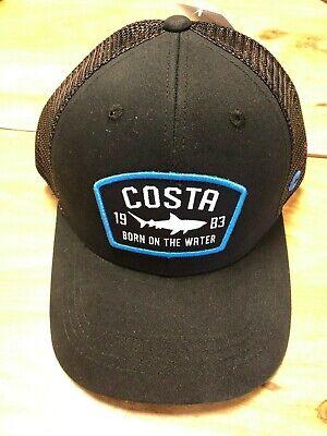 BRAND NEW COSTA DEL MAR MESH ADJUSTABLE CAP HAT CHATHAM SHARK TRUCKER BLACK Black Adjustable Trucker Hat