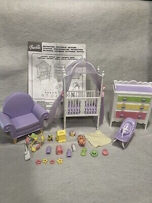 Complete - 2005 Barbie Baby, Crib, Nursery Set- instructions Included