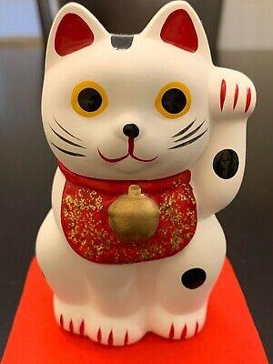 Maneki Neko Lucky Cat Figurine White Made in Japan