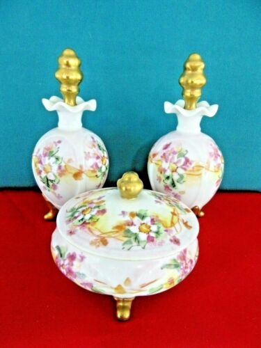 SIGNED Vintage Antique 3 Piece Footed  Vanity Set 2 Perfume Bottles 1 Jar  Lid